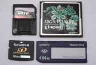 Various types of memory cards